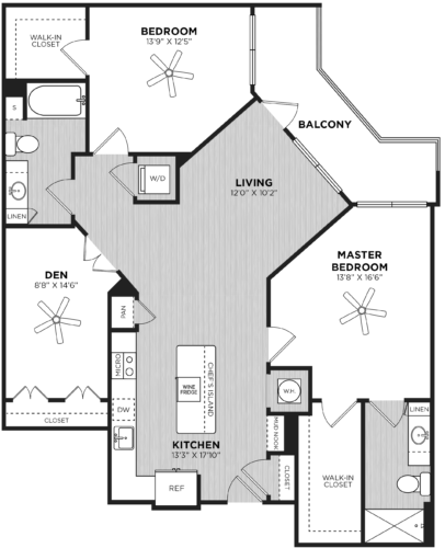 Two bedroom floor plan at Alexan Buckhead Village