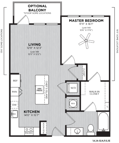 One bedroom floor plan at Alexan Buckhead Village
